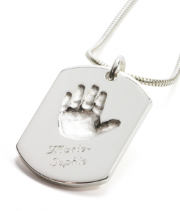 Personalized jewelry with baby handprint